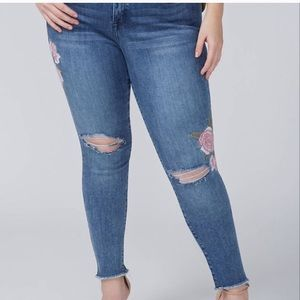Lane Bryant super stretch ankle embroidered jean